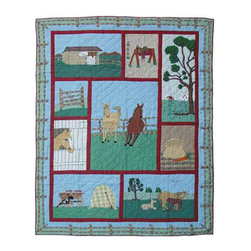 Patch Quilts - Horse Quilt King 105 x 95 Inch - Intricately appliqued and beautifully hand quilted  - Bedding ensemble from Patch Magic  the name for the finest quality quilts and accessories  - Machine washable  - Line or Flat dry only Patch Quilts - QKHORS