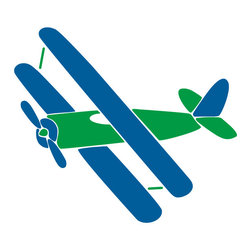 "My Wonderful Walls - Biplane Stencil for Painting - - Measures 14""w x 12.5""h"