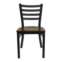 """Flash Furniture - HERCULES Series Black Ladder Back Metal Restaurant Chair - Mahogany Wood Seat - Provide your customers with the ultimate dining experience by offering great food, service and attractive furnishings. This heavy duty commercial metal chair is ideal for Restaurants, Hotels, Bars, Lounges, and in the Home. Whether you are setting up a new facility or in need of a upgrade this attractive chair will complement any environment. This metal chair is lightweight and will make it easy to move around. This easy to clean chair will complement any environment to fill the void in your decor.; Heavy Duty Metal Restaurant Chair; Ladder Style Back; .75"""" Thick Plywood Seat; Mahogany Finished Wood Seat; 18 Gauge Steel Frame; Welded Joint Assembly; Curved Support Bar; Black Powder Coated Frame Finish; Plastic Floor Glides; Designed for Commercial Use; Suitable for Home Use; Assembly Required: Yes; Country of Origin: China; Warranty: 2 Years; Weight: 24 lbs.; Dimensions: 32.25""""H x 16.5""""W x 17""""D"""