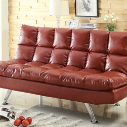 "Coaster - 300120 Red Sofa Bed - Add a splash of color to your living room, loft or apartment with this sofa bed covered in red leather-like fabric. Features extra plush pillow-top cushions for comfort and support as well as chrome finished legs. This sofa bed is sure to make a modern statement in your room.; Contemporary Style; Leather-Like Fabric; Dimensions: Sofa Bed: 70.50""L x 36.00""W x 35.00""H; Flat Dimensions: 70.50""L x 49.00""W x 19.50""H"