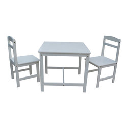 International Concepts - International Concepts 3 Piece Kids Table and Chair Set in Linen White - International Concepts - Kids' Table & Chair Sets - JT082027 - This table and chair set from International Concepts will make the perfect activity center for your young ones.  It is composed of durable solid wood and includes one table and two chairs.