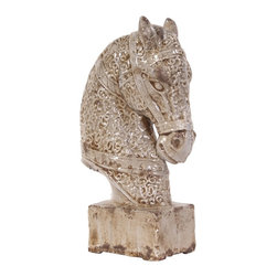 Howard Elliott - Old World Ceramic Horse with Base - Old world ceramic Horse statue finished in a glossy textured design, set on a matching base.
