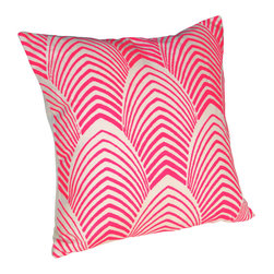 Neon Arches Pillow - Printed arches create a colorful frequency on this graceful throw pillow.  Taken from wallpaper, this art deco inspired print is bright but classic at the same time.  It adds an engaging pop to any living room, cozy nook or bedroom.