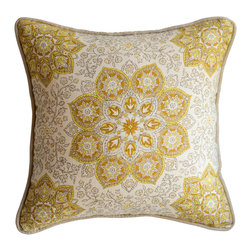 KH Window Fashions, Inc. - Medallion Pillow from the Jaclyn Smith Home Fabric Collection from Trend, Gold, - This exquisite medallion pillow belongs on any sofa or bed. The colors are soft and complimentary.