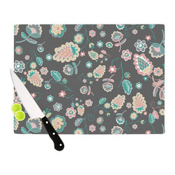 """Kess InHouse - Nika Martinez """"Cute Winter Floral"""" Gray Pastel Cutting Board (11"""" x 7.5"""") - These sturdy tempered glass cutting boards will make everything you chop look like a Dutch painting. Perfect the art of cooking with your KESS InHouse unique art cutting board. Go for patterns or painted, either way this non-skid, dishwasher safe cutting board is perfect for preparing any artistic dinner or serving. Cut, chop, serve or frame, all of these unique cutting boards are gorgeous."""