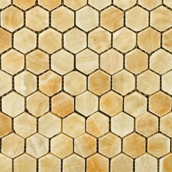 Honey Polished Hexagon Pattern Mesh-Mounted Onyx Tiles - Honeycomb-like, honey polished hexagon patterned tiles; a tongue twister for sure, but a design delight as pleasant as sweet honey. The polished mosaic tiles, made of durable onyx, are suitable for floors and walls in bathrooms and kitchens. Consider for a remodel or just an upgrade that will make a big difference to your decor!