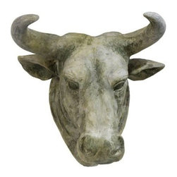 Bull Head Mount - An architectural ornament like no other! This regal bull head is one of those statement makers that only the bold at heart can pull off. Use it indoor or out, in your lodge, living room, dining room....