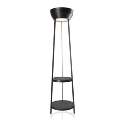 Diesel Lighting - Heavy Metal Floor Lamp - Heavy Metal Floor Lamp is unrefined in its roughly artisanal appearance and visible welds, refined in its vintage-inspired design.  Comes with Frosted glass and a Black metal dipped in a special acidic bath which alters its surface to a different extent each time, accelerating the natural oxidation process.  Up and down light is also warm, with an enveloping and involving effect, supported by a three-legged structure with two practical circular storage surfaces, ideal when teamed with a sofa or an armchair. Heave Metal has a 59 inch cord. One 200 watt, 120 volt T3 type RSC base halogen bulb is required, but not included. UL listed. Top of the lamp is 15.75 inches wide. 17.75 inch width x 70 inch height.