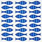 Blue Fish Eco Napkins, Sapphire/Shell White, Set of 4