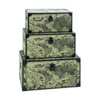 BZBZ53864 - Travel Steamer Trunk Set with Ancient World Map - Travel steamer trunk set with ancient world map. For anyone wanting to travel, their journey should never begin without a large set of steamer trunks.