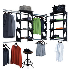 KiO - KIO 8' Wide Closet or Shelving System, Black - KiO's Closet in a Box is the organizer's favorite shelving system for easy to install, incredible strength and revolutionary design. The KiO kit requires no cutting tools, includes adjustable hanging rods and can be installed in as little as 20 minutes. Add extra shelves to your kit with the purchase of KiO 2-pack Shelf Bundle.