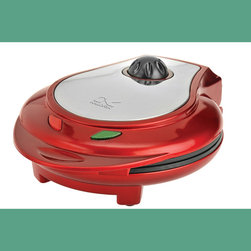 """Kalorik - Kalorik Red/Stainless Steel Heart Shape Waffle Maker - Put your heart out on the table (don't forget the syrup!) with the Kalorik Heart Waffle maker. Make perfect, heart-shaped golden waffles (7"""" diameter) the easy way! A green light comes on until the unit is preheated. Add waffle batter and after a few minutes the waffles are ready to serve. Six temperature settings control desired doneness. The unit has a decorative stainless plate for the top cover, as well as a base with nonskid pads and cord storage."""