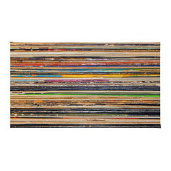 "Contemporary Vinyl Rug, 72x48 - Using 100% woven polyester, these premium quality area rugs boast an exceptionally soft touch and high durability. Available in three versatile sizes (36""x24"", 60""x36"", 72""x48"") they are the perfect accent to any room in your home, featuring thousands of designs from your favorite artists on a subtle chevron pattern. Machine washable; non-skid pad not included."