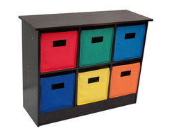 Sourcing Solutions, Inc. - 6 Bin Storage Cabinet - Espresso - RiverRidge® Kids - Storage cabinet/bookcase includes 6 folding storage bins with open handles. The top shelf  is extra space for storage or display. Multiple uses in kid's room, family room or entryway. Attractive wood grain laminate in espresso brown color. The six storage bins are in assorted colors; red, dark blue, light blue, green, yellow and orange. Keep your books, toys, games, art/craft supplies and media organized. The bins can be folded when not in use.