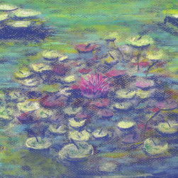 Balboa Turtle (Original) by Niki Hilsabeck - Painted with soft pastel on textured paper, this impressionistic water scene features a turtle floating among the water lilies at Balboa Park in San Diego, California.