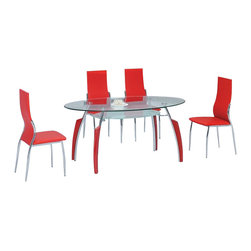 American Eagle Furniture - 210DT & 205CH Glass Top Table & Red Vinyl Chairs Five Piece Dining Set - The 210DT & 205CH dining set is a great addition for any dining room that needs a touch of simple modern design. The dining table has a glass table top that features a two tier design. The main table top comes in a clear glass oval shape while the lower level comes with a frosted finish. The table has a four leg design with the legs made from polished stainless steel and red accents running up the legs vertically. The chairs come upholstered in a stunning red vinyl material with High density foam placed within the cushion for added comfort. The chairs have a unique curved design creating a lumbar support making the chairs very comfortable. The frame of the chairs are crafted from polished stainless steel. The dining set consist of a dining table and four chairs only.