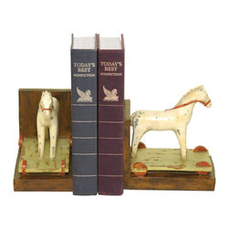 Sterling Industries - Sterling Industries Pair Child's Pony Bookends X-4329-39 - Primitive styling and design helps to create a more casual vintage feel to this Sterling Industries bookends set. This pair of bookends, which feature a child's pony, are done with clean lines and minimalist detailing. Red reins and a white horse perched on a rolling platform adds whimsy and interest to any room.