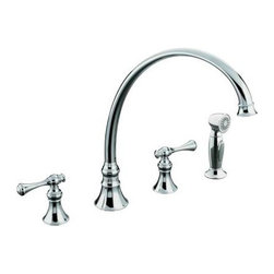 "KOHLER - KOHLER K-16111-4A-CP Revival Kitchen Sink Faucet with 11-13/16"" Spout - KOHLER K-16111-4A-CP Revival Kitchen Sink Faucet with 11-13/16"" Spout, Sidespray and Traditional Lever Handles in Chrome"