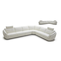 Modern White Full Leather Sectional Sofa - Features: