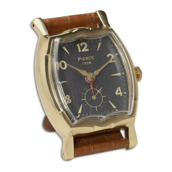 Brown Leather Wristwatch Square Table Alarm Clock - *Brass rim with leather stand.