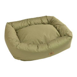 West Paw Design - Organic Bumper Bed dog stuffed bed in Basil Green color option; Small - 2XLarge, - The Bumper Bed® with Organic Cotton is made with a removable organic cotton cover, helping Mother Earth by reducing the amount of chemicals we put into the ground. The cushion used on the inside of the donut dog bed is made from 100% recycled IntelliLoft®, previously plastic bottles. With a clean, crisp feel there is no better designer dog bed out there for pets, people and the planet. Try it wth your allergic, sensitive or orthopedic pups. This bed is Certified Safe by third party testing! You and your furry friend can rest comfortably, knowing that every part of this dog bed has been rigorously tested for over 100 potentially harmful substances and found to be 100% Safe! Machine washable with a zippered opening for easy washing. Five sizes range from the extra small dog bed for the tiny breeds to the extra large dog bed for those friends we have with the really big paws. Made in Montana, USA.