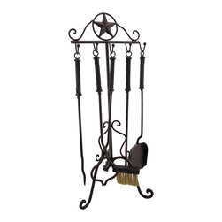 Zeckos - Rustic Western Star Wrought Iron Fireplace Tool Set - This Western star themed fireplace tool set contains a brush, a shovel, tongs and a poker, all with wrought iron shafts. The set has a dark brown, rust-like finish that give it an aged look, and it matches almost any decor. The set measures 27 1/2 inches tall, 1 inches long and 11 inches wide. It makes a great gift.