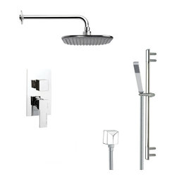 Remer - Modern Square Rain Shower Faucet Set in Chrome - Single function shower faucet.