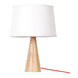 ParrotUncle - White Fabric Shade Wooden Base Modern Table Lamp, Large - This wooden Table Lamp has white color lampshade which will never out of date.