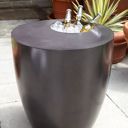 "Horchow - Beverage Cooler Side Table - How handy is this? Outdoor table looks great and works hard at keeping the party going. Handcrafted of outdoor-safe concrete/resin. Well in table designed to hold beverages on ice. 22""Dia. x 22""T. Boxed weight, approximately 90 lbs. Please note th..."