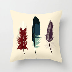 Quill Pillow Cover - Show them style is for the birds! A watery-toned gull feather adorns this charming offering, flanked by two downier quills in deep, warm hues. Made of 100% polyester poplin, it's sure to add comfort and grace to any room you choose.