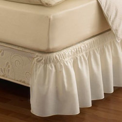 Ellery Holdings Llc - Ruffled Solid Adjustable Bed Skirt - Change your bed skirt quick and easy thanks to the makers of Easy Fit. There's no need for heavy lifting; the easy-stretch design allows the bed skirt to slip effortlessly over your mattress and around your box spring.