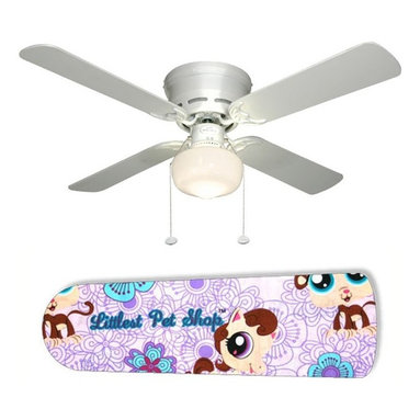 """LPS Littlest Pet Shop Purple 42"""" Ceiling Fan and Lamp - 42-inch 4-blade ceiling fan with a dome lamp kit that comes with custom blades. It has a white flushmount fan base. It has an energy efficient 3-speed reversible airflow motor for year long comfort. It comes with complete installation/assembly instructions. The blades can be cleaned with a damp cloth. It is made with eco-friendly/non-toxic products. This is brand new and shipped in the original box. This is not a licensed product, but is made with fully licensed products. Note: Fan comes with custom blades only."""