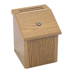 "Safco - Wood Locking Suggestion Box - Oak - Can we make a suggestion? Locking suggestion box invites confidential ideas and comments. Comes with 25 suggestion cards and two keys. Set on a tabletop or mount to any convenient wall. Wall mounting hardware and template are included.; Features: Material: Furniture Grade Particleboard; Color: Oak; Finished Product Weight: 6 lbs.; Assembly Required: No; Tools Required: No; Limited Lifetime Warranty; Dimensions: 7 3/4""W x 7 1/2""D x 9 3/4""H"