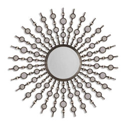 Uttermost - Kimani Antique Silver Mirror - A sunburst metal mirror that shines above the rest! Burnished pyramids and small accent mirrors become the beautiful rays of this round antique silver mirror. Here's a bright addition to your foyer, covered outdoor patio or hallway that Apollo himself would envy.