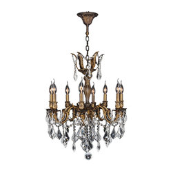 "Worldwide Lighting - Versailles 8 Light Antique Bronze Finish and Clear Crystal Chandelier 22"" x 26"" - This stunning 8-light Chandelier only uses the best quality material and workmanship ensuring a beautiful heirloom quality piece. Featuring a cast aluminum base in Antique Bronze finish and all over clear crystal embellishments made of finely cut premium grade 30% full lead crystal, this chandelier will give any room sparkle and glamour. Worldwide Lighting Corporation is a privately owned manufacturer of high quality crystal chandeliers, pendants, surface mounts, sconces and custom decorative lighting products for the residential, hospitality and commercial building markets. Our high quality crystals meet all standards of perfection, possessing lead oxide of 30% that is above industry standards and can be seen in prestigious homes, hotels, restaurants, casinos, and churches across the country. Our mission is to enhance your lighting needs with exceptional quality fixtures at a reasonable price."