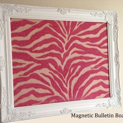"Magnetic Bulletin Board - The ""Gabriella"" is 16"" x 20"" Framed Magnetic Bulletin Board. Cute addition to a Nursery or Girls Room Decor. Ornate Provincial white frame with a fabric covered magnetic backdrop. Colors are bright and vivid in pink and taupe with a zebra pattern. Organize and add beauty. Would also be a great addition to an office or playroom. Give as a birthday or baby shower gift."