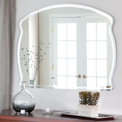 Decor Wonderland - Frameless Diane Wall Mirror - 39.5W x 31.5H in. Multicolor - SSM1060 - Shop for Bathroom Mirrors from Hayneedle.com! The Frameless Diane Wall Mirror is sure to brighten up any room of your home. This unique rectangular mirror has an arched top and wavy edges - it is perfect for dressing up any wall. Constructed of strong 3/16 glass it features a beautiful polished border. Mounting hardware is included with the mirror. Weighs 23 pounds. Dimensions: 39.5W x 31.5H x .5D inches.