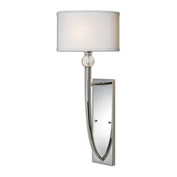 Uttermost - Uttermost Vanalen 1 Light Chrome Wall Sconce 22493 - The clean lines and cultured refinement of plated polished chrome show in this soft contemporary look. Crystal ball accents with an ellipse shaped hardback white silk look fabric shades. Transitional enough for many of today's interior styles.