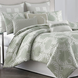"""Horchow - King 4-Piece Comforter Set - King 4-Piece Comforter SetDetailsSet includes 110"""" x 96"""" comforter dust skirt with 15"""" drop and two king shams.Made of cotton.Machine wash.Imported."""