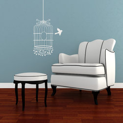 Flying The Bird Coop Vinyl Wall Decal - Fly like a bird with your home décor and our Flying the Coop Birdcage Vinyl Wall Decal from Wallternatives. This vintage birdcage helps any wall take off in flight.