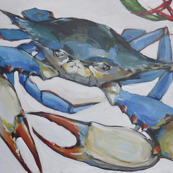 Blue Crab Painting - This is an original painting inspired by Louisiana Blue Crabs. Paintings of them are a great addition to kitchens, living rooms, beach houses.  It will brighten up any space, get you compliments from your visitors. The painting is created on a gallery wrapped traditional profile canvas, so it can hang without a frame or framed, depending on your preferences.