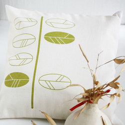 Mod Twig Pillow Cover - High contrast and minimalist lines make this raw cotton pillow cover a standout. One twig with small springtime leaves is screen-printed in a deep sage green that gives it real pop against the soft, natural tone of the fabric.