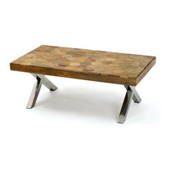Go Home - Natural Finish Patchwork Coffee Table - Patchwork Wooden Coffee Table crafted with parquet wooden top and has natural with polished accents finish to create texture and interest. A timeless classic that will enhance with any decor for years to come.