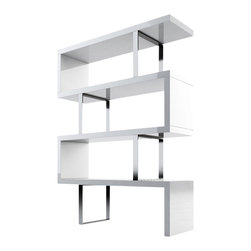 Modloft - Pearl Bookcase, White Lacquer - The Pearl bookcase adds a modern edge to any room. Four fixed hardwood shelves with ladder-style steel chrome supports give the Pearl a light appearance. Clean, modern lines and open shelving allow this stunning piece to act as a natural partition between adjacent rooms in the home. Measures 51L x 14D x 66H (distance between shelves 14.5H). Light assembly required. Engineered wood. Available in wenge or walnut wood finishes. Also available in white lacquer finish. Photo shown as pair. Sold separately. Imported.