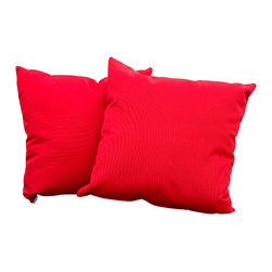 "Great Deal Furniture - Samara Beige 17"" Outdoor Accent Pillow (Set of 2), Red - Accessorize your home with these Samara beige pillows. Upholstered in Sunbrella woven fabric, a durable weather resistant material, these chic accent pillows are a great option to add flare and comfort to your home. Use them indoors or to accessorize your outdoor seating set."