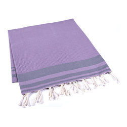 Handmade 100% Cotton Tunisian Fouta Hammam Towel, Purple - Bright and light, a fouta is a textile derivative of the traditional hammam towels of Turkey and North Africa. It is large enough for one person to use it as a beach towel. The foutas are made of lightweight cotton and roll up tightly, perfect for tucking in a bag and taking with you. Plus, they're as absorbent as traditional terry-cloth towels, and they dry quickly, too.