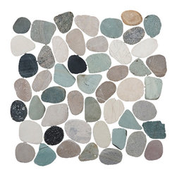Sliced Pebble Tile, Green, Black, Tan, and White, 12 in. X 12 in., Interlocking - Size: 12x12 in. (1/2 in thick) Approx. 1 piece/sq. ft. Sold by the piece.
