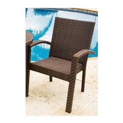 Hospitality Rattan - Soho Patio Dining Arm Chair in Rehau Fiber Ja - This patio side chair is perfect for home or commercial use and can be paired with matching items for a full dining set. Features a durable aluminum construction and wicker exterior that is designed to withstand the elements without losing style or function. Comes in a java brown color. Color shown is not accurate . See additional image as an example of the EXACT product color. This product is warranted for outdoor use. Constructed of an aluminum frame wrapped in woven rehau fiber. Cushions are optional on this item. Weather and UV resistant. Rehau Fiber java brown finish. Matching dining group and pub set available. Stackable design helpful In commercial settings. 24 in. W x 25 in. D x 34 in. H (15 lbs.)The Soho Collection is a sleek contemporary collection that offers a unique see-through modular sectional that allows endless possibilities ranging from a sofa, loveseat, armless chair setup, to a standard sectional. The Soho Collection offers a fully anodized aluminum frame, which is then woven with Rehau Java Brown fiber. Its unique look and multi-colored textured surface make it one of the most attractive collections for outdoor use. The Soho Collection only requires cushions for the seating pieces. The balance of the collection can be used without cushions. In addition, glass is optional as the table tops are fully woven and offer reinforced plexiglass undersides for enhanced sturdiness. The large round dining table accommodates an umbrella. The Soho armchair and chaise lounges are all stackable items. The cushions used on the Soho collection are available with synthetic outdoor fabrics including Sunbrella. Most importantly the quality of the Soho collection makes it ideal for contract settings.