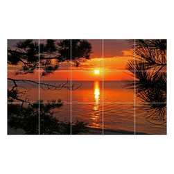 Picture-Tiles, LLC - Sunset Picture Kitchen Bathroom Ceramic Tile Mural  12.75 x 21.25 - * Sunset Picture Kitchen Bathroom Ceramic Tile Mural 1872