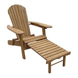 "Lamps Plus - Placentia Natural Outdoor Adirondack Chair with Ottoman - Outdoor foldable Adirondack chair with ottoman. From the Placentia collection. Natural finish. Fir wood construction with oil-based stain. Folds flat for easy storage. Pull-out ottoman attached to the chair. Manufacturer's limited one year warranty. Assembly required. 32 1/2"" high. 30 1/2"" wide. 60 1/4"" deep.   Outdoor foldable Adirondack chair with ottoman.  From the Placentia collection.  Natural finish.  Fir wood construction with oil-based stain.  Folds flat for easy storage.  Pull-out ottoman attached to the chair.  Manufacturer's limited one year warranty.  Assembly required.  32 1/2"" high.  30 1/2"" wide.  60 1/4"" deep."